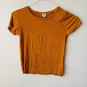 Garage Mustard T-Shirt w/ Ruffle in Sleeve & Hem